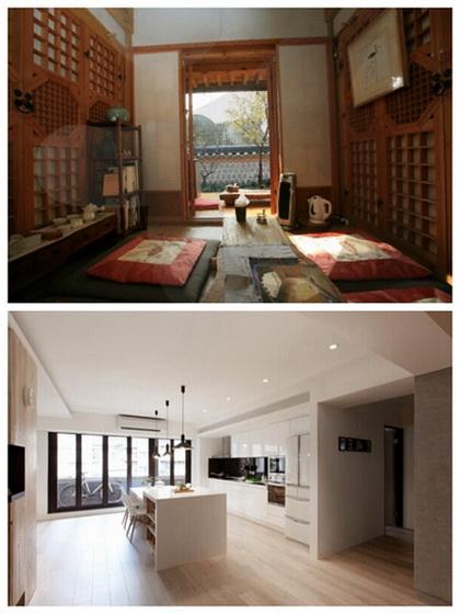 韩国传统韩屋与现代公寓