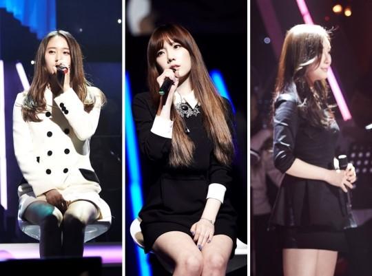 左起依次是Kristal、泰妍、张力尹